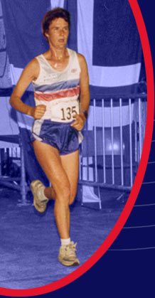 Competing for Great Britain at the World 100km Championships, Winschoten, Holland, 1995 en route to a new personal best