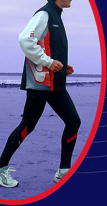 Sharon training on South Gare beach in December 2002